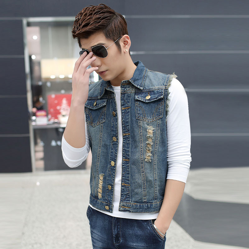 hunting casual Berserk gilet designer denim puffer polo cowboy vest suit outdoor multi pocket sleeveless men jeans jacket(China (Mainland))