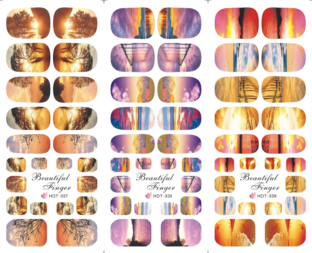 HOT 3 IN 1 Water Transfer Decal Stickers Nail Art Tips Full Cover Hand + Foot Twilight Sunset  Decoration 337-339