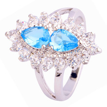 New Brilliant Blue Topaz 925 Silver Ring Size 6 7 8 9 10 Wholesale Free Shipping
