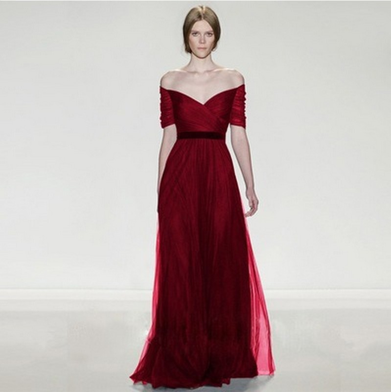 Wonderful  Women Hollow Out Red Sexy Evening Party Long Night Dress Picture In