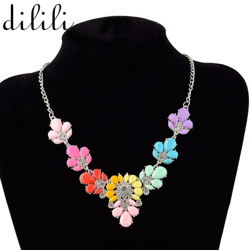 DILILI 2017 fashion colorful rhinestone necklaces & pendants link chain Crystal Flower Choker Necklace Women Jewelry xsn613