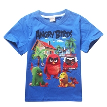 4Y-9Y NEW Cartoon Angry Children t Shirts Birds Summer Boys Kids Short Sleeve Tees Cotton Baby Clothing Boys' t-Shirts(China (Mainland))