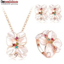 2016 Best Seller Jewelry Set Rose Gold Plate Austrian Crystal Enamel Earring/Necklace/Ring Flower Set Choose Size of Ring ST0002(China (Mainland))