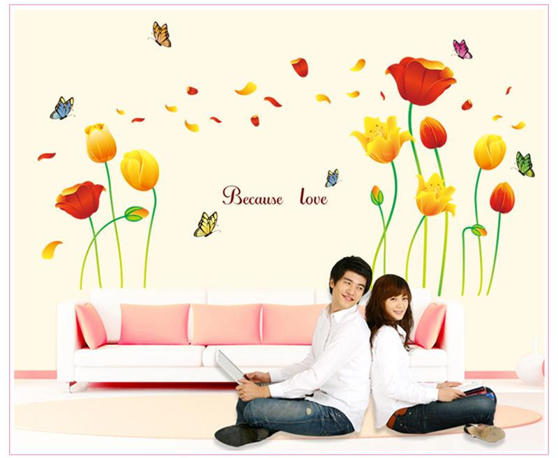 170 * 100 cm Explosion models graceful elegant flower wall 3D stickers butterfly wall decoration furniture living room romantic(China (Mainland))
