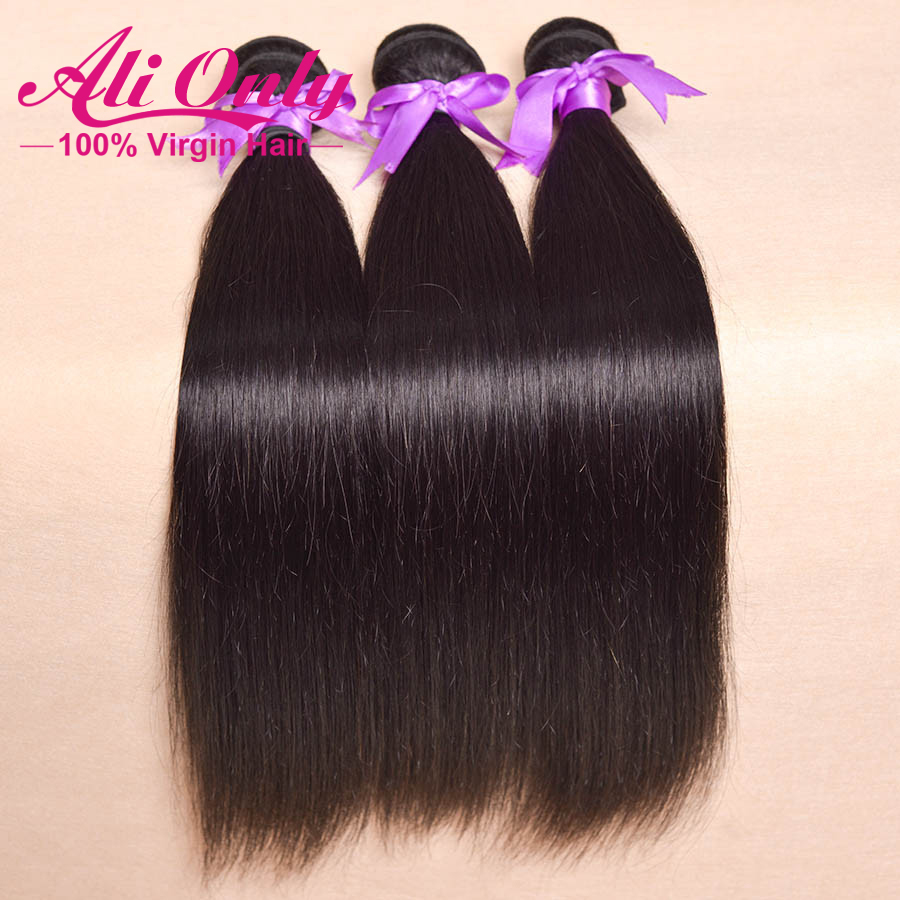 Ali only brazilian virgin hair straight 3pcs lot brazilian hair weave bundles 8