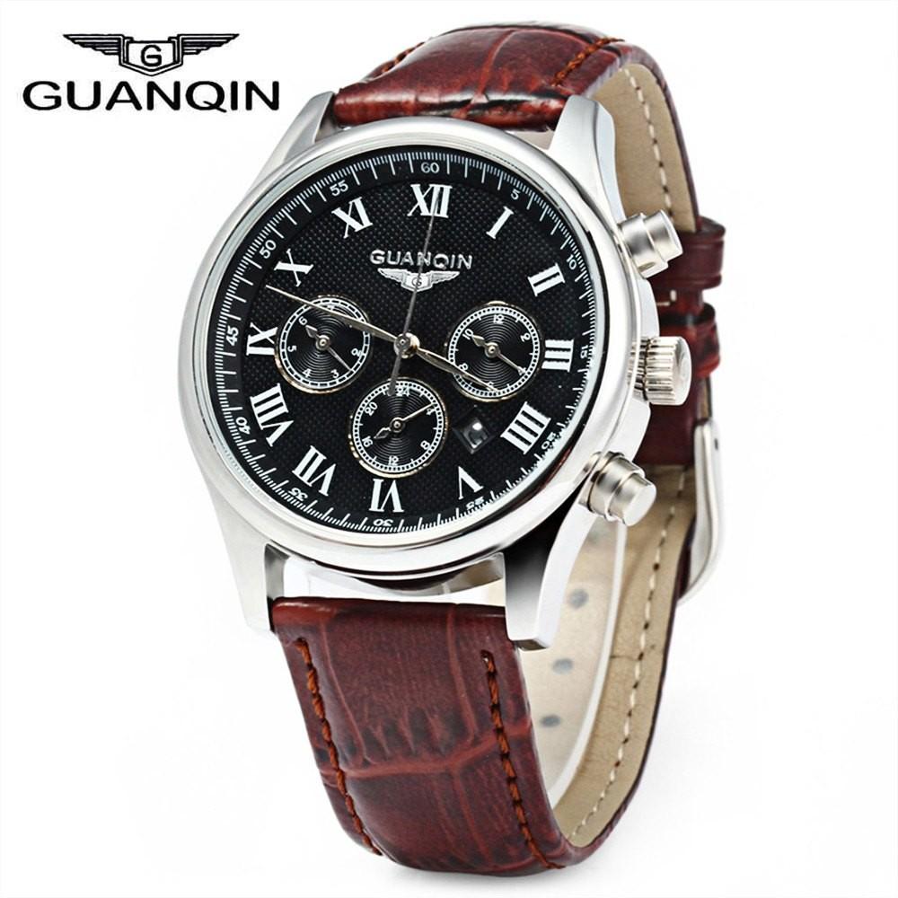 Guanqin мужчин кожаный ремешок календарь кварцевые часы 10ATM водостойкий с тремя перемещение суб-оптовая суб-набор