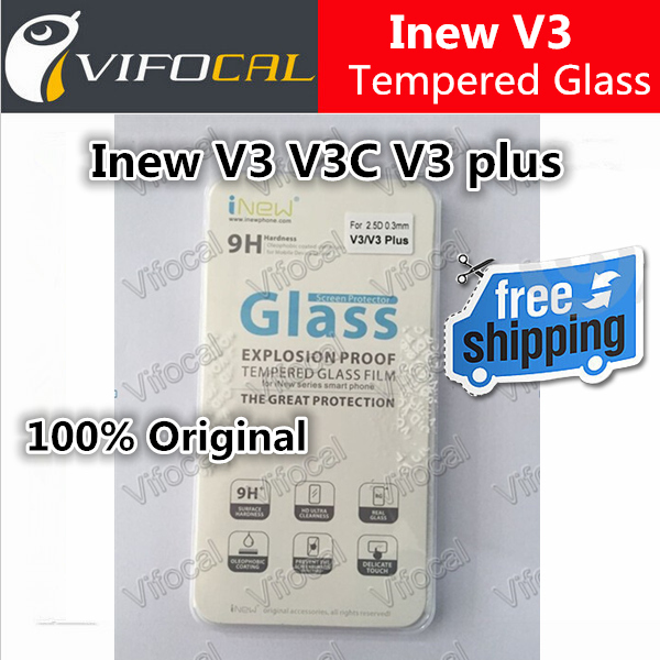 Inew V3 Tempered Glass Inew V3C V3 Plus 100% Original High Quality Screen Protector Film Cell Phone Accessories + Free shipping(China (Mainland))