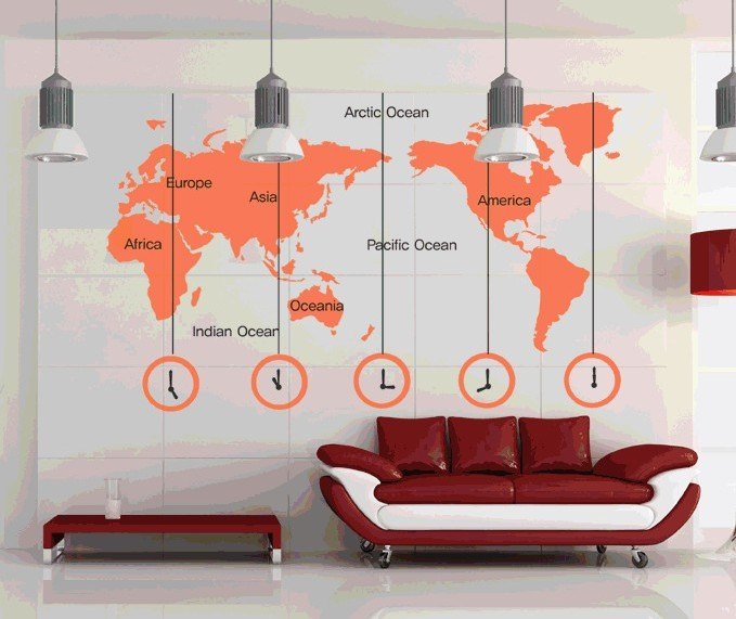 World Map Clock Wall Stickers Removable DIY Decal Living Room Bedroom Wallpaper Office Home Art Mural Poster Multi Color - exonu store