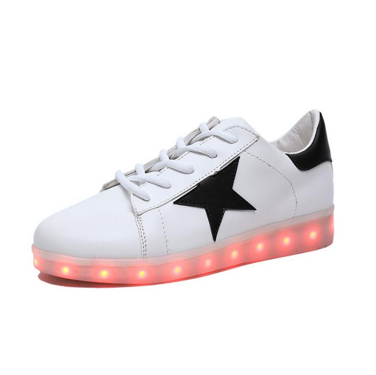 2016 Hot Sale Brand Couple Led Shoes High Quality Pu Casual Shoes Men And Women Stars Flats Light Up Shoes Luminous Black White(China (Mainland))
