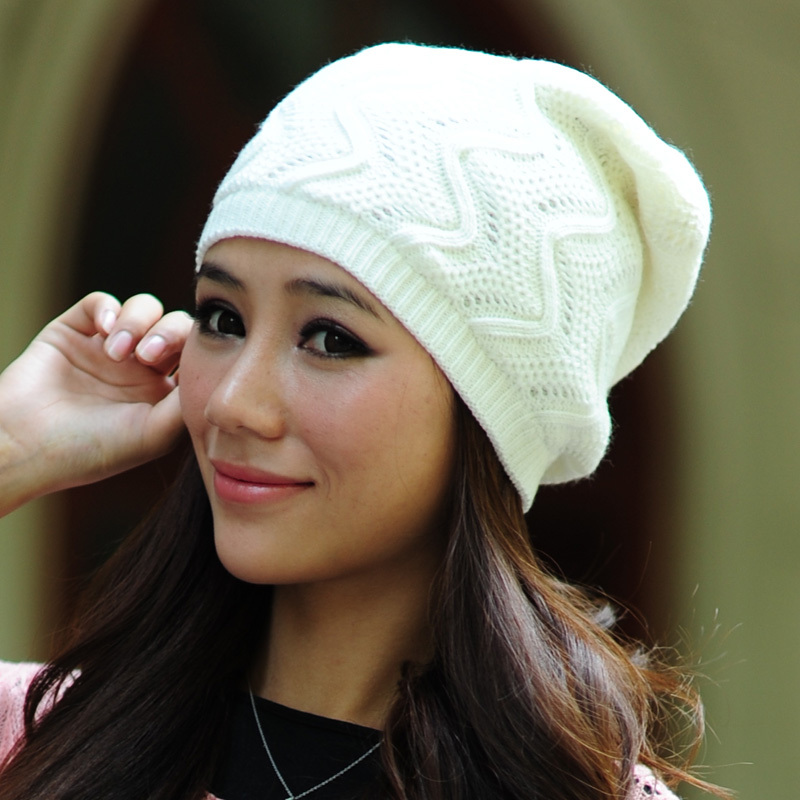 2013 autumn and winter S striped knitted cap Wave pattern level female hat 6color 1pcs Free Shipping(China (Mainland))