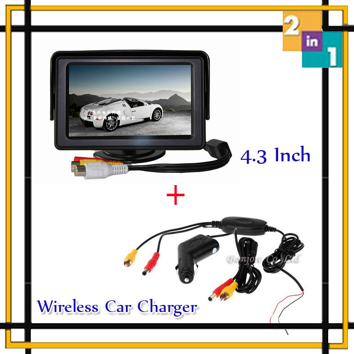Wholesale Parking System Wireless Car Charger color TFT monitor transmitter and Receiver for car rear view form camera DVD(China (Mainland))