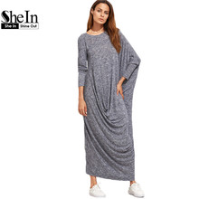 SheIn Winter Long Maxi Dress Brand Casual Dresses Navy Marled Knit Draped Asymmetric Long Sleeve Oversized Dress(China (Mainland))