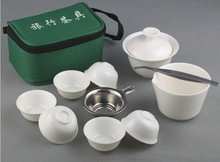 New coming 10pcs+1  travel kung fu tea white travel kungfu tea set  for Puer tea oolong tea with  folder giawan cups kungfu set