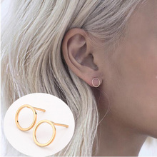 2015 1 Pair Summer Style New Fashion Famous Gold Silver Black Round Circle Ear Stud Earrings For Women Fine jewelry(China (Mainland))
