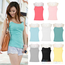 Hot Selling New Fashion Women's Cotton Lace Hollow-Out Crochet Tank Tops Tee Cami Shirt Sleeveless Solid 1OGG(China (Mainland))