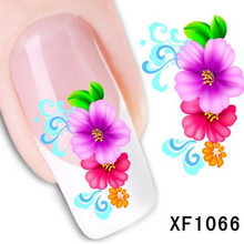 1Pcs Nail Art Water Sticker Nails Beauty Wraps Foil Polish Decals Temporary Tattoos Watermark + Free Shipping (XF1066)