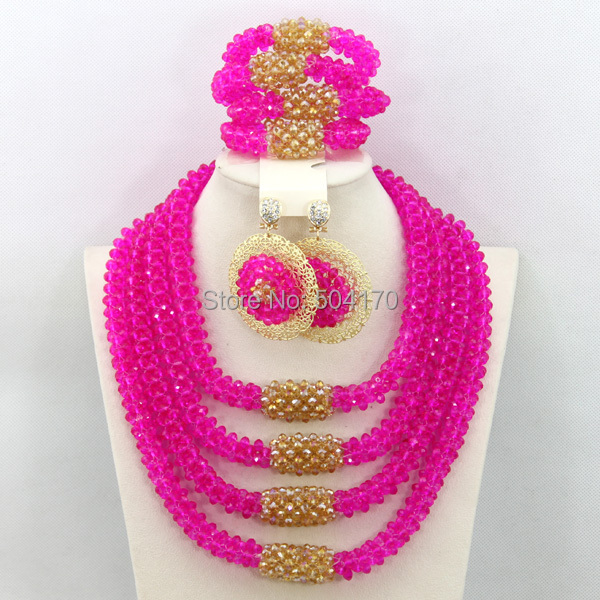 Exclusive Fuchsia Pink Nigerian Indian Bridal Beads Jewelry Set Handmade Crystal Statement Necklace Set New Free Shipping GS984(China (Mainland))
