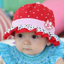 Hot sale Cute Summer Hat Baby Girls Sun Flower Hat Cotton Polka Dot Hearts Hat Cap 3-24 Months (China (Mainland))