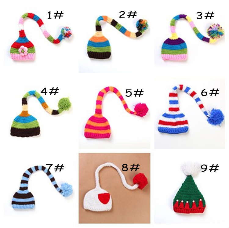 2015 new Baby Crochet Elf Christmas Hats with long tail Kids crochet Photography Props Baby Unisex Pixie Hat 1pc MZS-14056(China (Mainland))