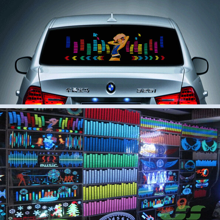 PANLELO Multi Design LED EL Sheet Flash Light Sound Activated Car Sticker with Music Equalizer Creative Car Stickers Car Styling(China (Mainland))