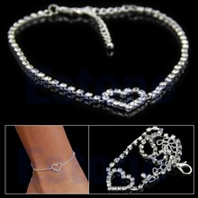 Sexy Women Love Gift Heart Rhinestone Foot Anklet Wedding Jewelry Ankle Bracelet