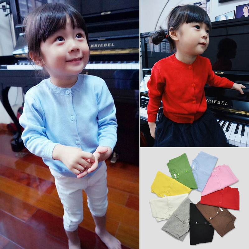 Hot Sale Sweater Children Spring Cotton Knitted Cardigan Sweater for Kids Solid Baby Sweater for Girls 1-5y Clothes(China (Mainland))