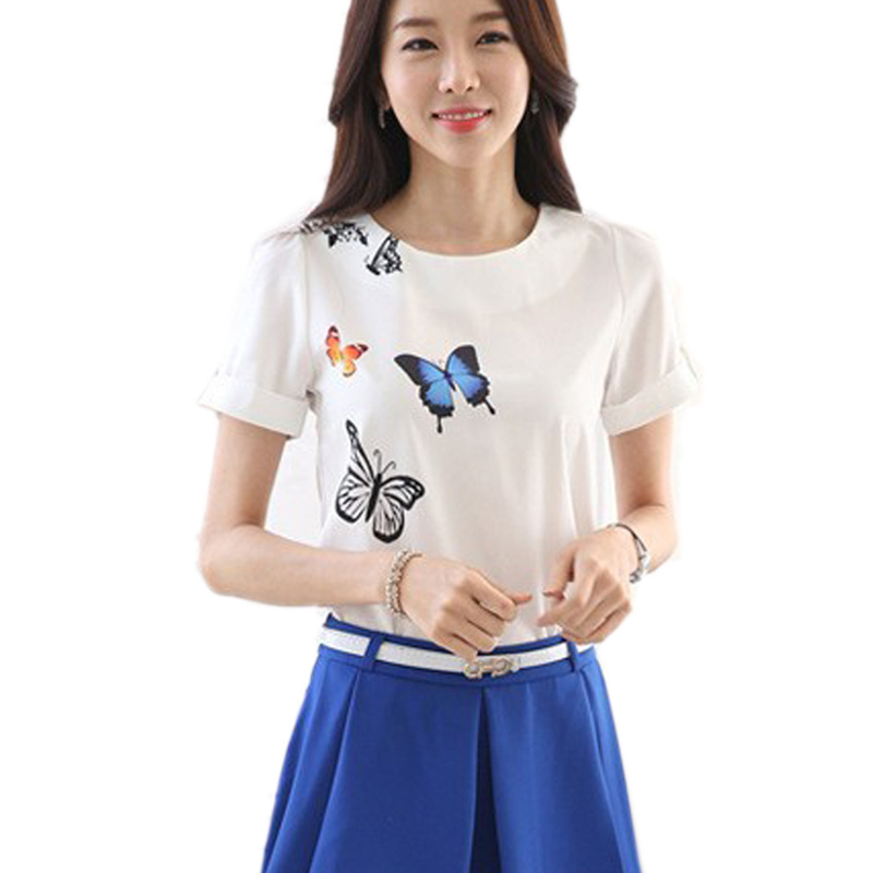 2015 Summer Stlye White Shirts Femininas Butterfly Printed Short Sleeve Chiffon Blouse Female Shirts Women Summer Tops Plus Size(China (Mainland))