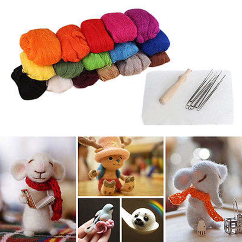 New 16 Colors Wool Felt + Needles Felt Tool Set Needle Felting Mat Starter Tool Kit For Sewing Accessories(China (Mainland))