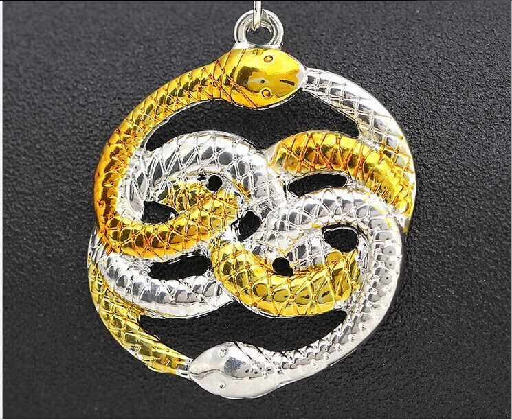 wholesale 33pcs punk alloy The Neverending Story Two intertwined entwined twisted golden Argent snakes pendant necklace boy 2016<br><br>Aliexpress