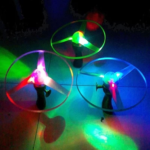 Free Shipping 1pc Spin LED Light Outdoor Toy Frisbees Boomerangs Flying Saucer Helicopter UFO ER8153(China (Mainland))