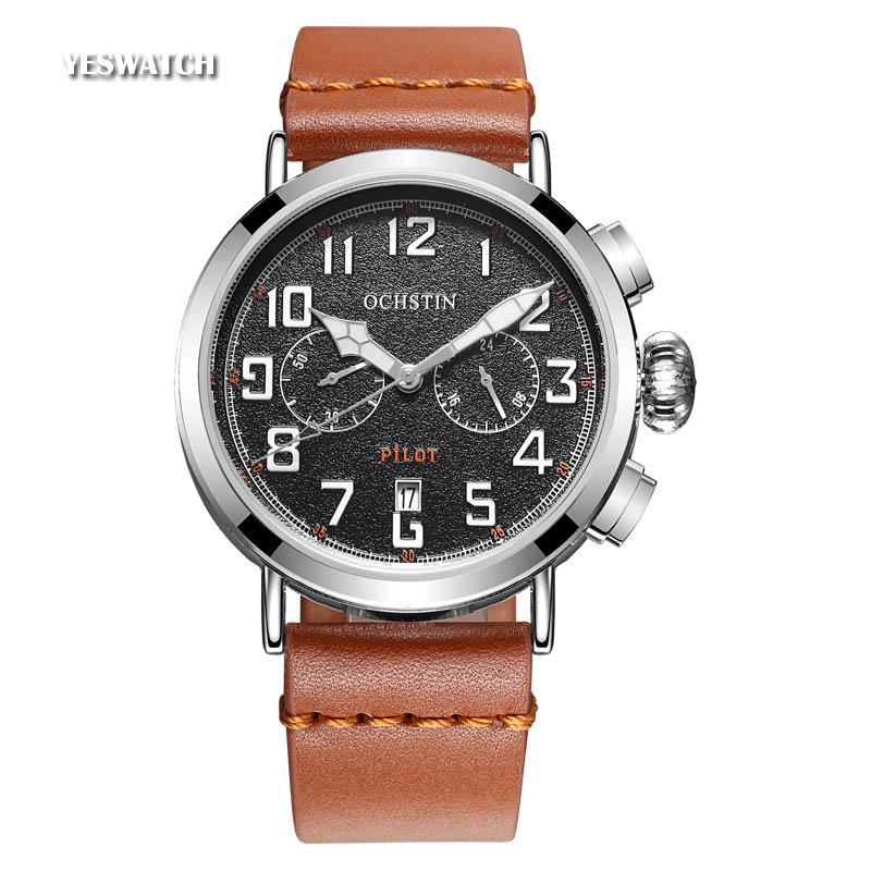 Fashion Pilot Sports Men Watch Luxury Swiss Brand OCHSTIN New Leather Quartz Watch Casual Male Big Men Watches Relogio Masculino(China (Mainland))