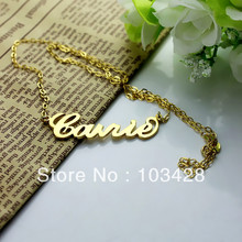 Freeshipping Personalized Name Necklace Gold Plated Over Silver Initials CARRIE Font Customized Name Jewelry Great Gift