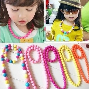 V&A New arrival GIFT jewelry baby children baby princess pearl necklace lovely color matching jewelry round beads (two pcs=1set)(China (Mainland))