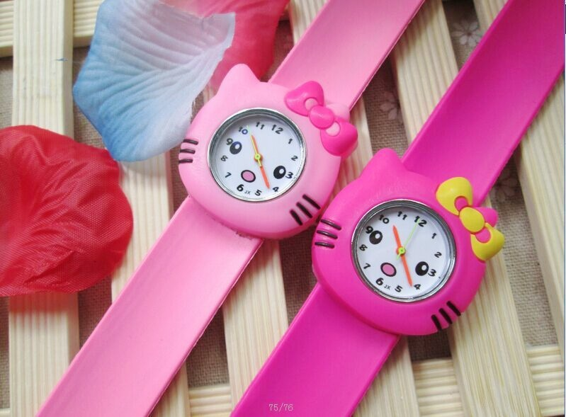 1pcs/lot ! Hot Pink/rose/Color Hello Kitty Slap Watch Girls Cartoon kids Watch Silicone Rubber Wrist Watch(China (Mainland))