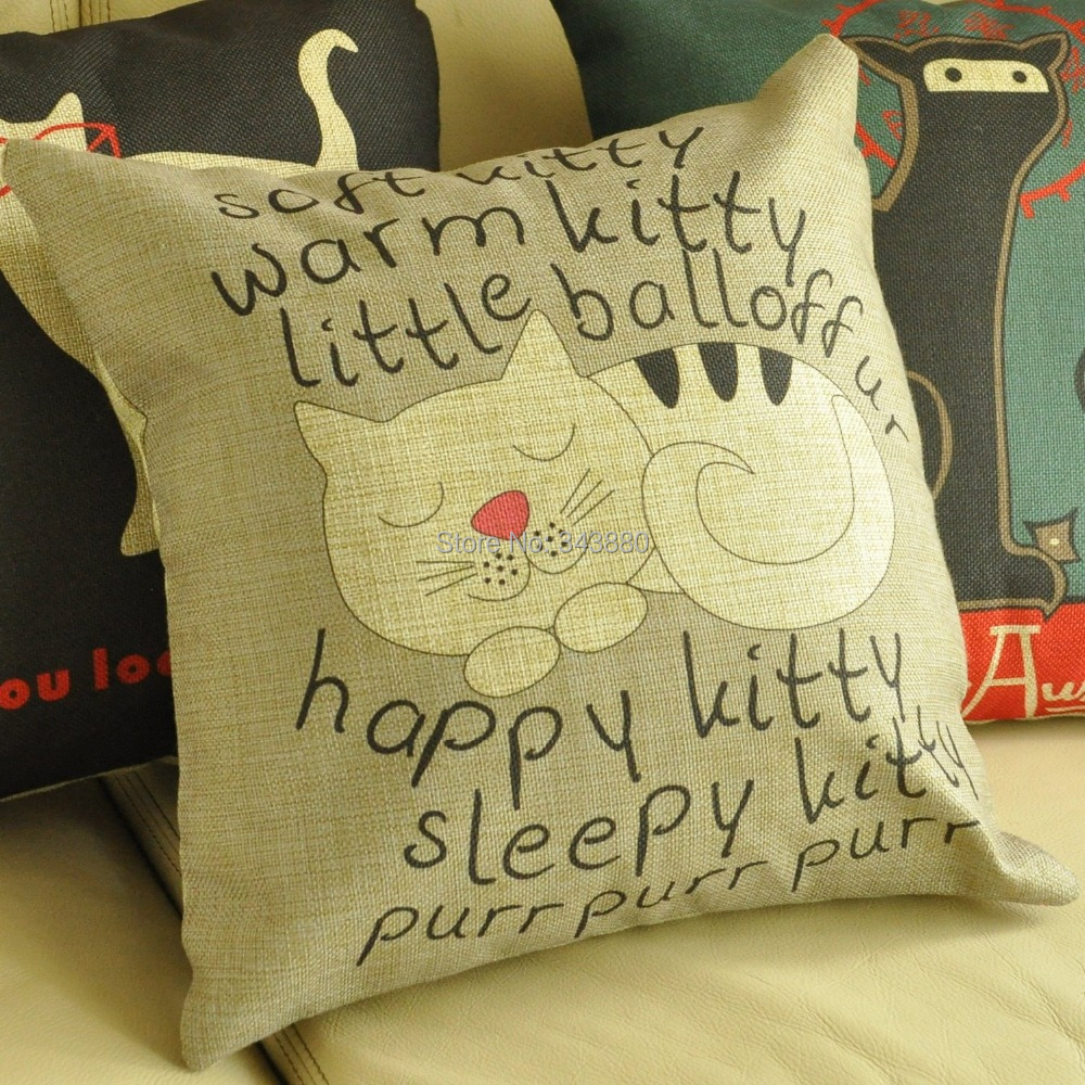 Cotton Linen Cartoon Sleepy Cat kitty Throw Pillow Covers Decorative Throw Pillows For Couch 18 ...