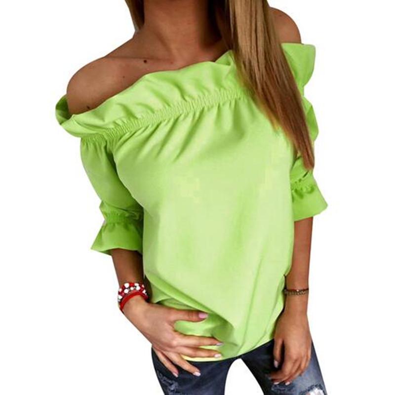 Adogirl Slash Neck Ruffles Blouses Women 3/4 Puff Sleeve Off Shoulder Fashion Tops Summer Plus Size Blusa Feminino(China (Mainland))