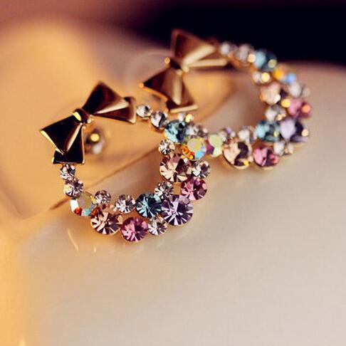 Free Shipping $10 (mix order) New Fashion Imitation Colorful Rhinestone Bow Earrings E41 Vintage Jewelry(China (Mainland))