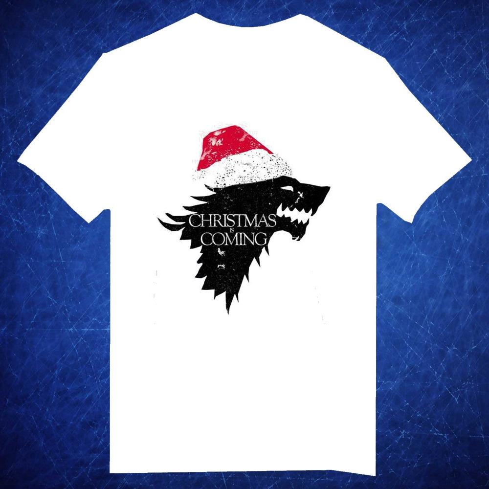 2015 Free Shipping Christmas Is Coming Game Of Thrones O Neck White Short Sleeve camiseta Unisex t shirt Men camisetas(China (Mainland))