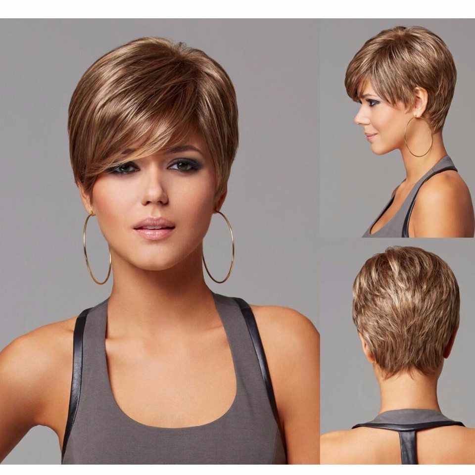 Cool womens Cut Hairstyle Synthetic Wigs Short Hair Straight Brown Wigs with Bangs for Women +Free Wig Cap Perruque