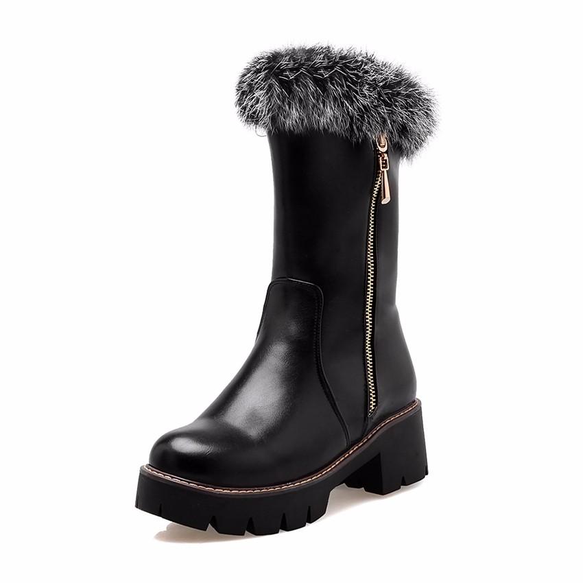 ซื้อ 2016นิวพลัสขนาดใหญ่33-43สีดำสีขาวสีแดงซิปแฟชั่นแพลตฟอร์มขนกระต่ายอบอุ่นหญิงเลดี้สตรีในช่วงฤดูหนาวรองเท้าหิมะX1566