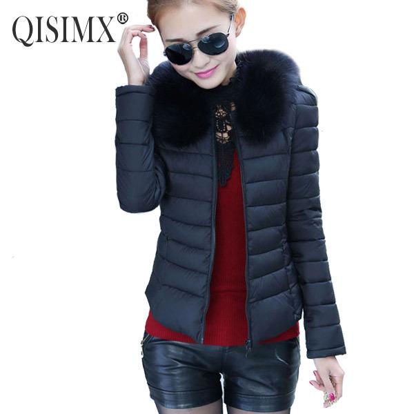 QISIMX NEW 2015 Winter Coat Women Fashion Down Jacket For Woman Fur Collar Coat Casual Warm Parka(China (Mainland))