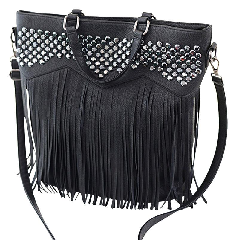 SSNH Women Bags Casual Fashion Tassel Diamonds Handbags Trendy Black Shoulder Bags Stylish Messenger Bag 5956(China (Mainland))