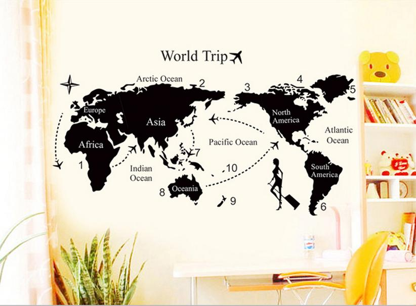 Travel World Map removable decals Art Home Decoration TV backdrop Wallpaper Wall Stickers bedroom decor DM57168 - dansy's store