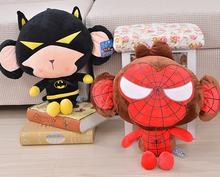 Gift for baby 1pc 40cm monkey become Spiderman Captain America batman plush hold doll pillow creative birthday stuffed toy