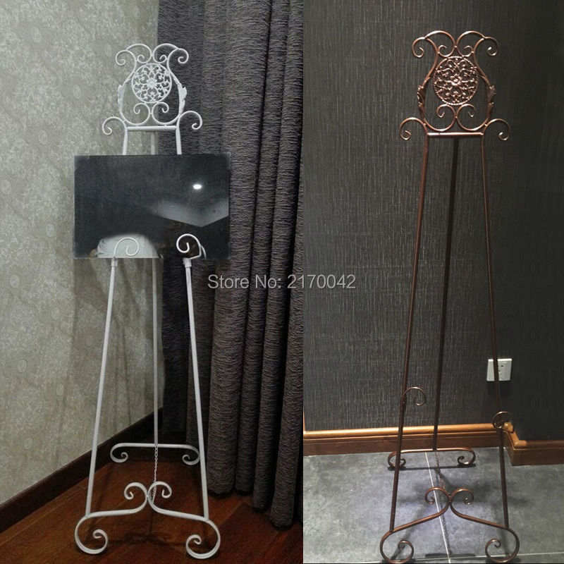 Antique White Metal Floor Easel Photo Frames Display Easel Drawing Stand Holder Wedding Menus Table Plans Layout Props H/150cm(China (Mainland))