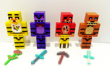 Hot 4pcs/set Model Minecraft Five Nights At Freddy's Juguetes 4 FNAF Foxy Chica Bonnie Freddy Action Figures Game Kid Toy Gifts
