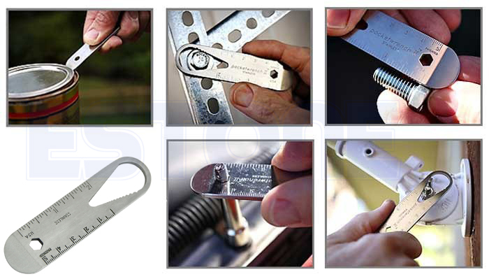 E79 Pocket Tool Spanner Wrench Ruler Can Opener Ultra Stainless Steel NEW