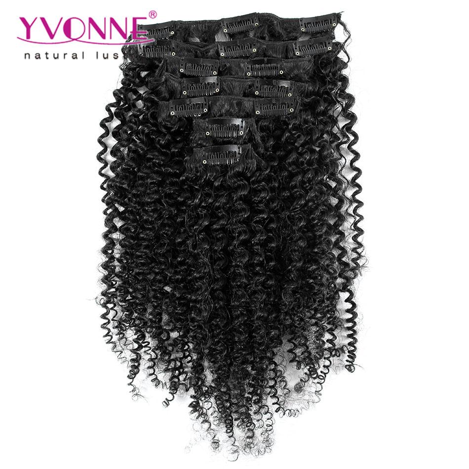 Aliexpress Yvonne Brazilian Virgin Hair Clip In Human Hair Extensions,7Pcs/set Kinky Curly Clip In Hair Extensions,Color 1B