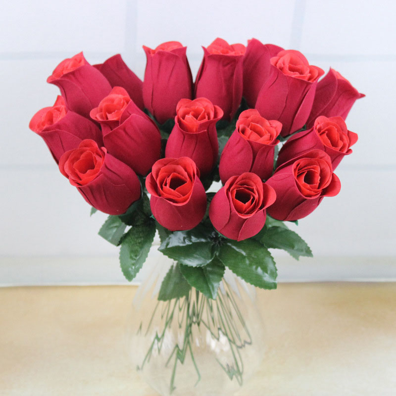 artificial flowers Simulation rose valentine day gift soap flower single red rose living room decoration wedding decoration(China (Mainland))