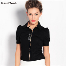 New 2015 Women Fashion Leopard Patchwork Body Shirt Summer Short Sleeve Formal Office Blouses Blusas Black White S-XXL SY0149(China (Mainland))